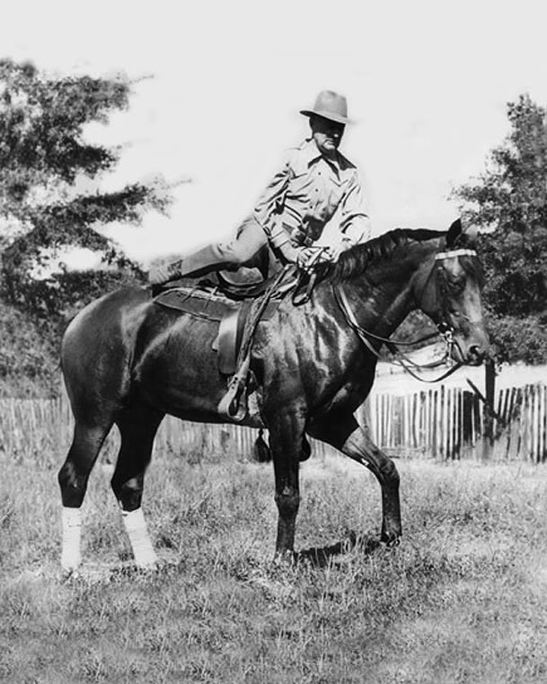After he retired from racing, Seabiscuit lived at Ridgewood Ranch near Willits, California. In this image, we see the Biscuit with Charles Howard, his owner. Image online, courtesy Seabiscuit Heritage Foundation.